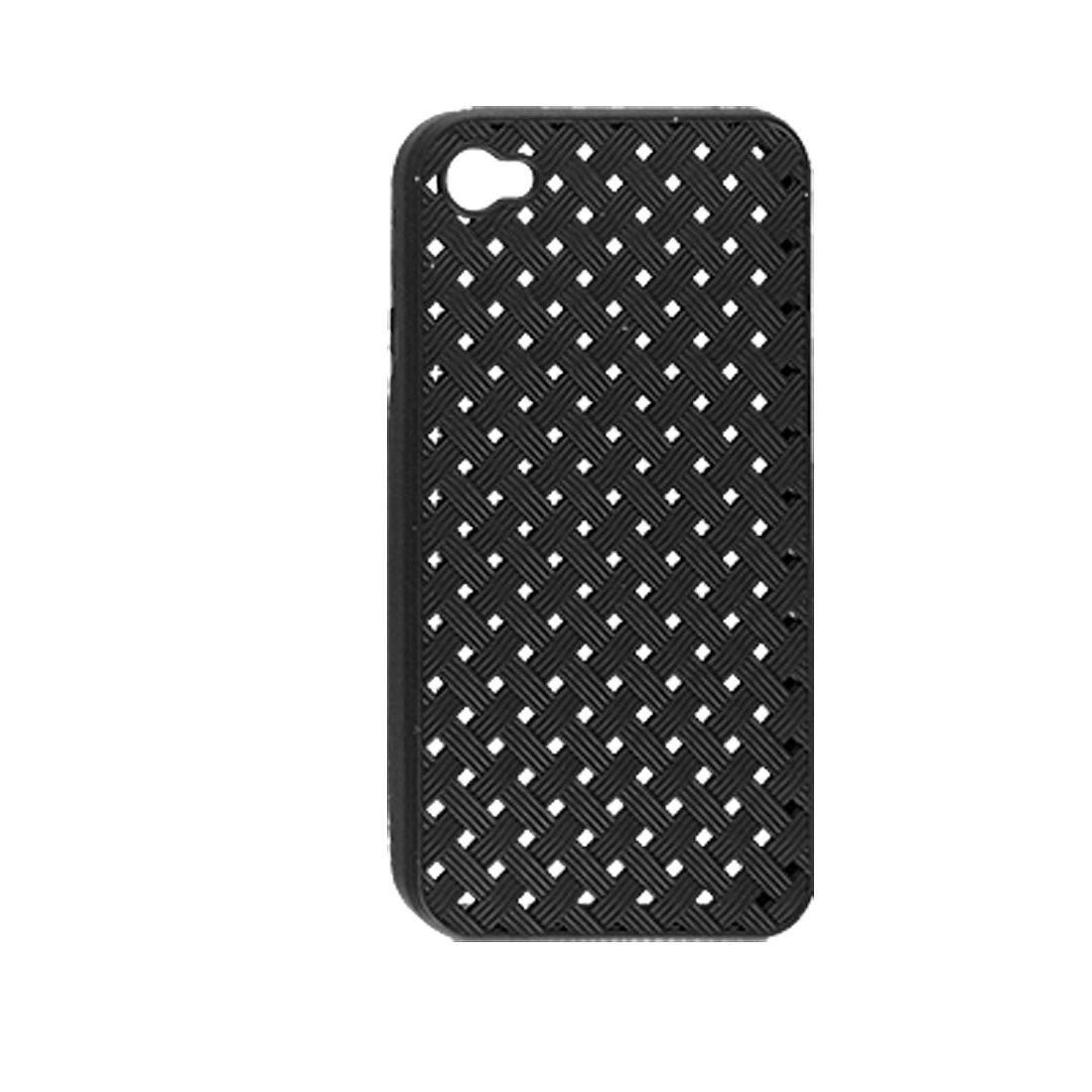 Weave Pattern Hollow Out Soft Plastic Black Case for iPhone 4 4G