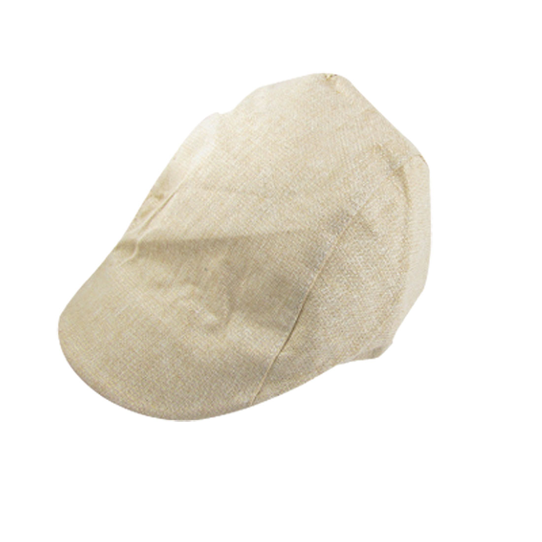 Ladies Gold Tone Metallic Thread Beige Beret Hat Cap