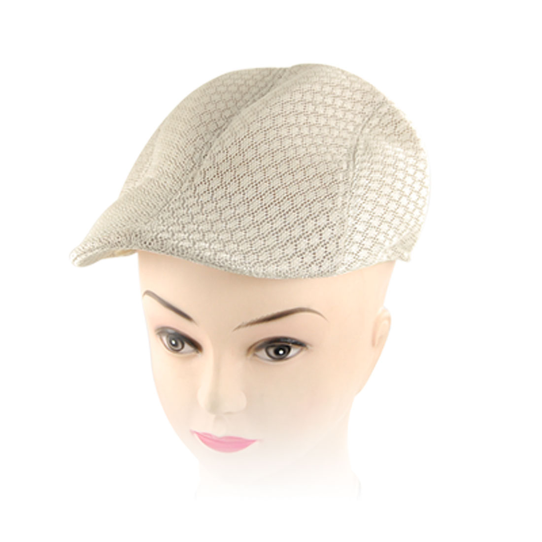 Lady Sponge Filled Beige Breathable Mesh Cabbie Visor Hat Cap