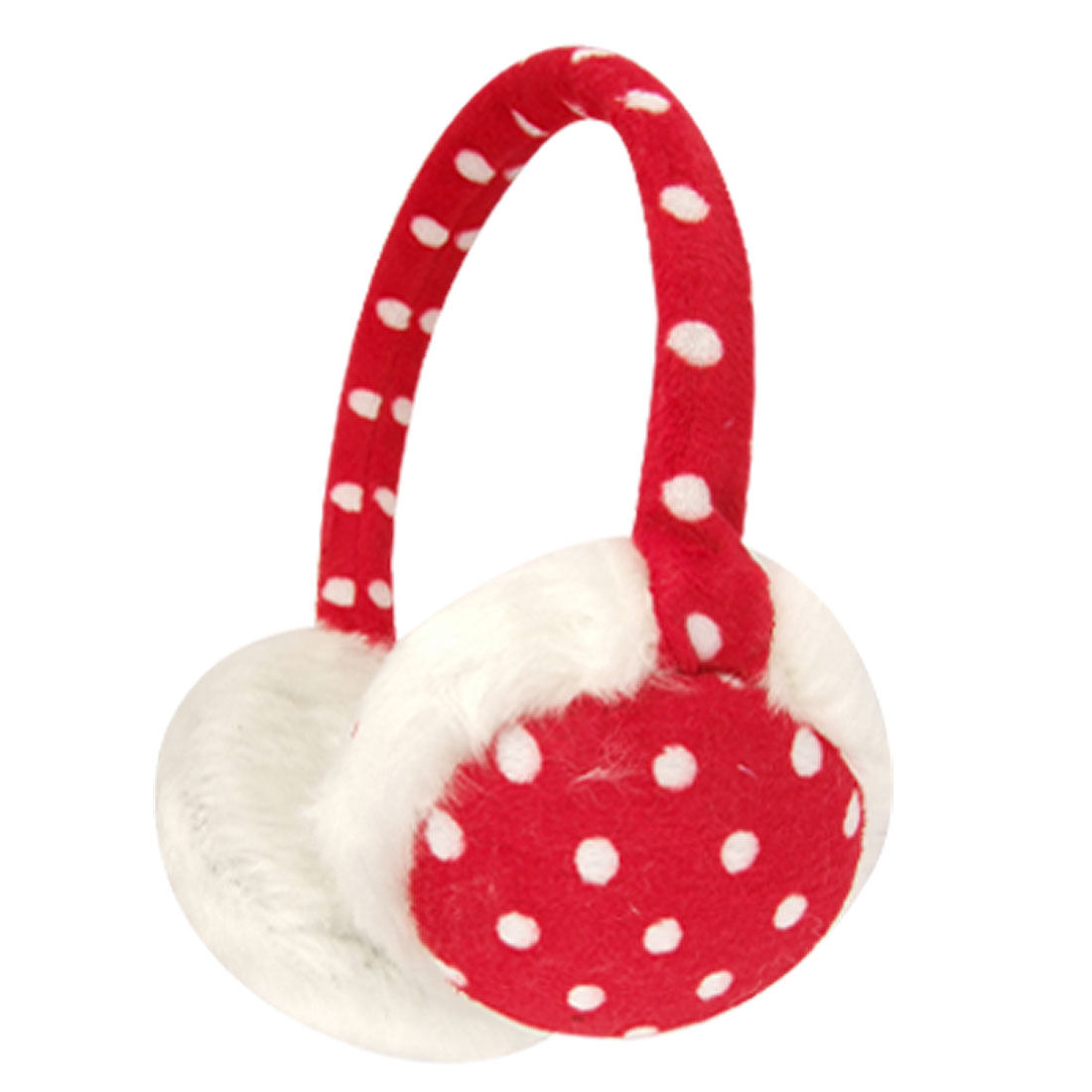 White Faux Fur Pad Dot Pattern Ear Wammer Earmuffs for Girls