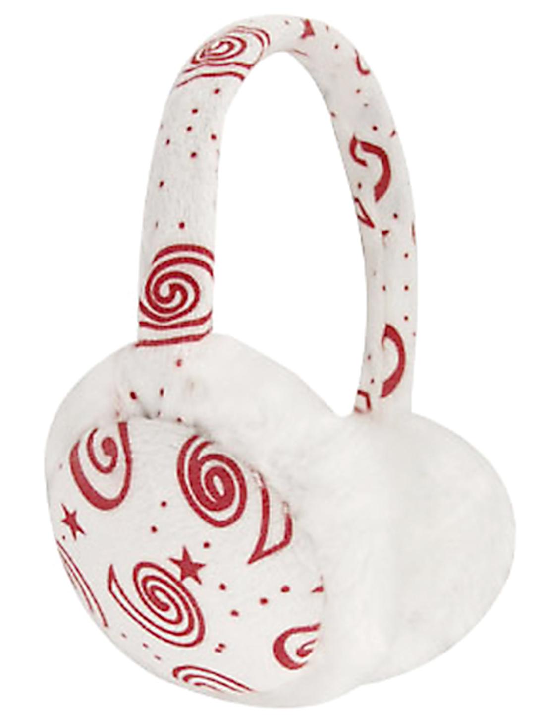 Plush Coated Frame White Fur Ear Pad Earmuffs