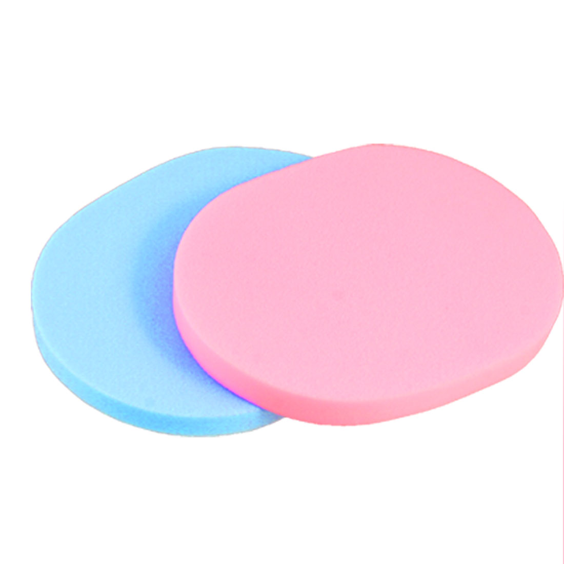 2 Pcs Blue Pink Makeup Oblong Sponge Powder Puff for Lady