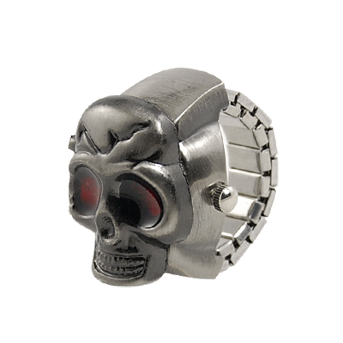 Alloy Skull Design Flip Open Stretchy Band Finger Ring Watch Grey Silver Tone UK M1/2