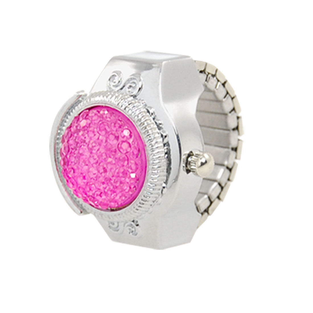 Ladies Pink Plastic Crystal Silver Tone Round Dial Finger Ring Watch