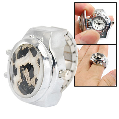 Lady Stretchy Band Plastic Amber Inlaid Finger Ring Watch Silver Tone
