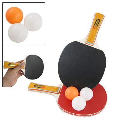 Pair Shakehand Grip Recreational Table Tennis Racket Pingpong Paddle Bat w 3 Balls