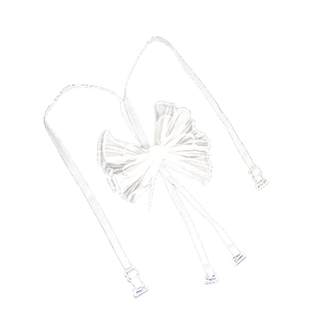 White Ruffled Bowknot Adjustable Elastic Bra Shoulder Strap