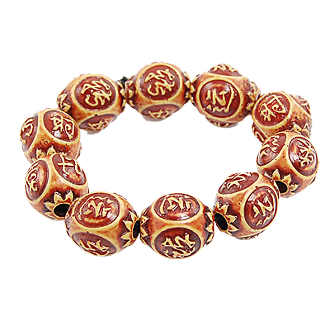 Lady Man Elasticated Chinese Carved Beaded Bracelet Brown