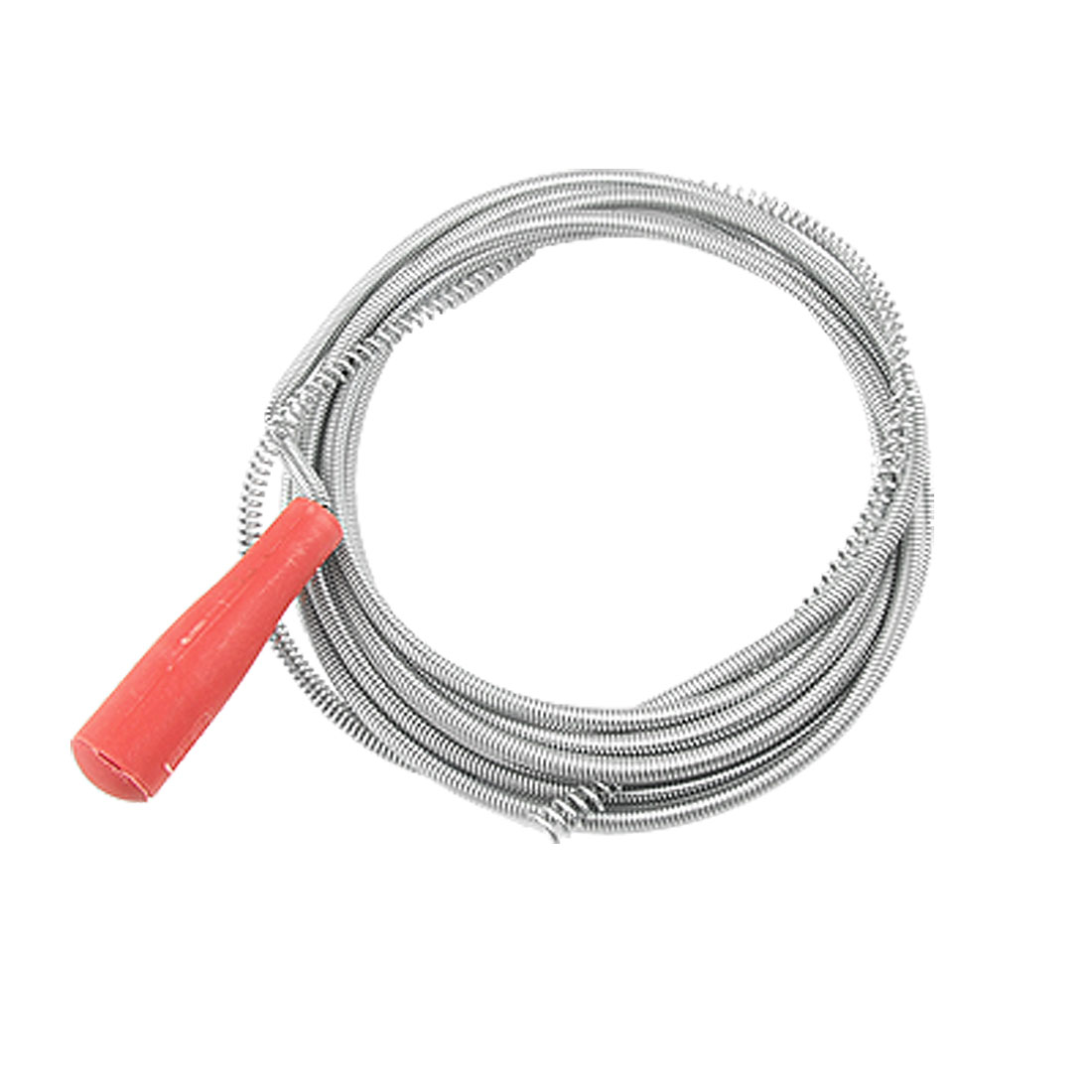 Red Plastic Handle Flexible Metal Clogged Drain Pipe Cleaner 1.7M