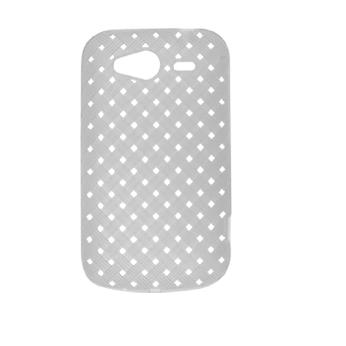 White Woven Rough Square Holes Pattern Cover Shell for for HTC Wildfire S G8S G13