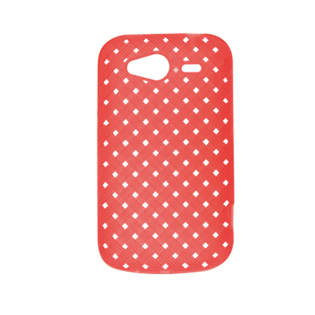 Red Woven Pattern Mini Holes Soft Plastic Case for HTC Wildfire S G13 G8s
