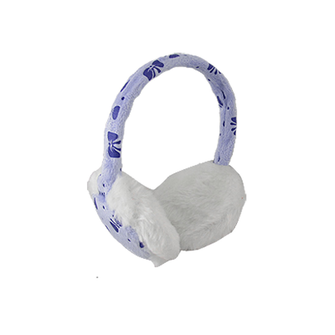 Children Winter Blue Bowknot Pattern White Plush Pad Ear Muffs Warmer