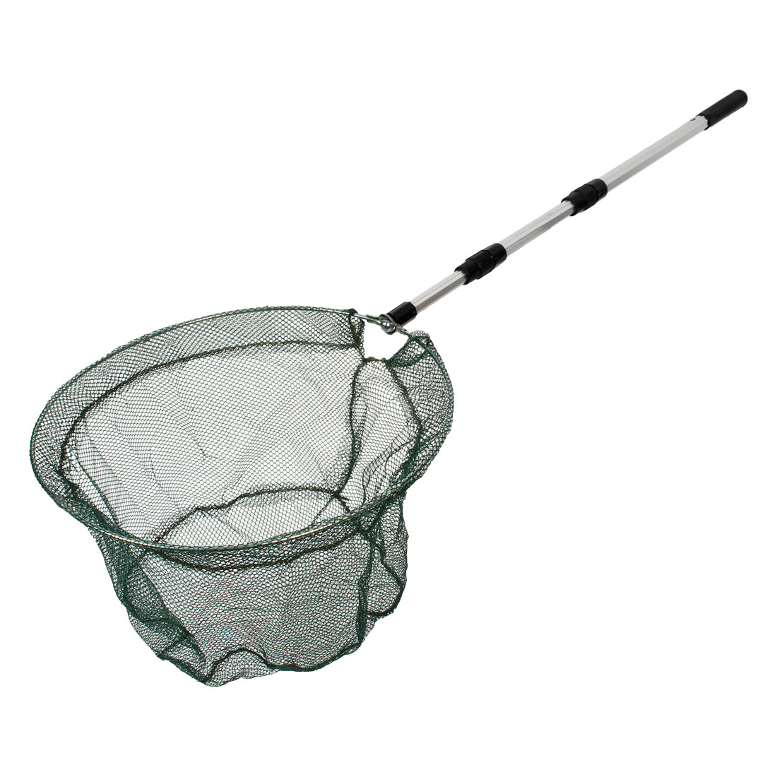 Silver Tone Nonslip Telescopic Handle Fish Landing Net