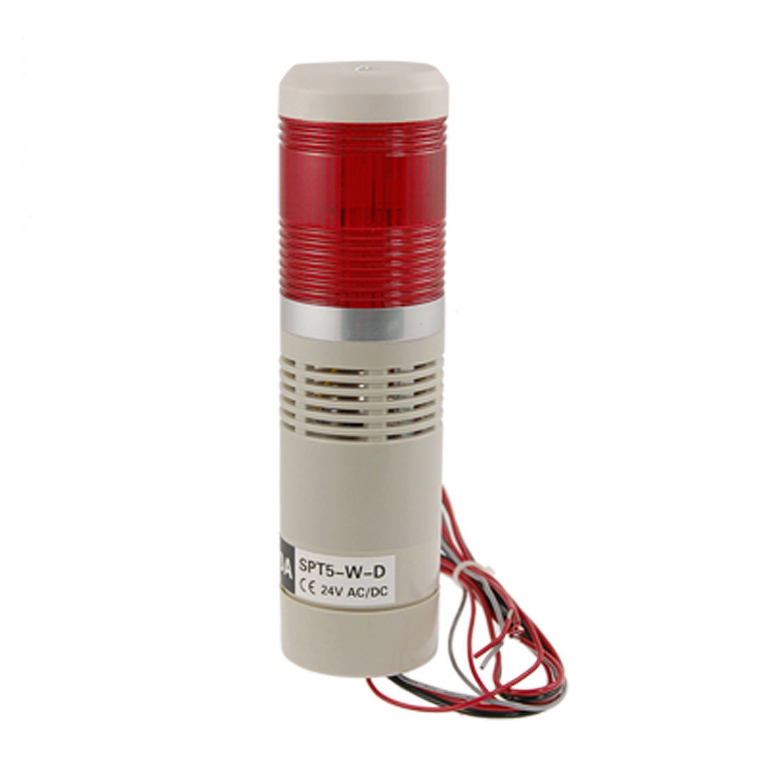 AC DC 24V Industrial Tower Signal Safety Light Red LED Alarm Lamp 90dB
