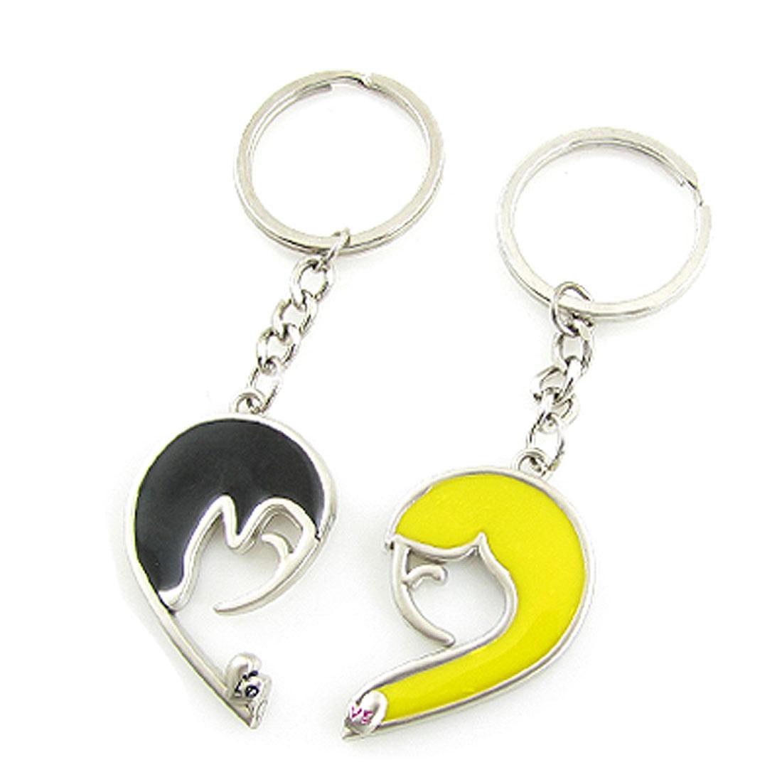 Couple Keychain Key Ring Human Shape Magnetised Pendant Black Yellow 2 Pcs