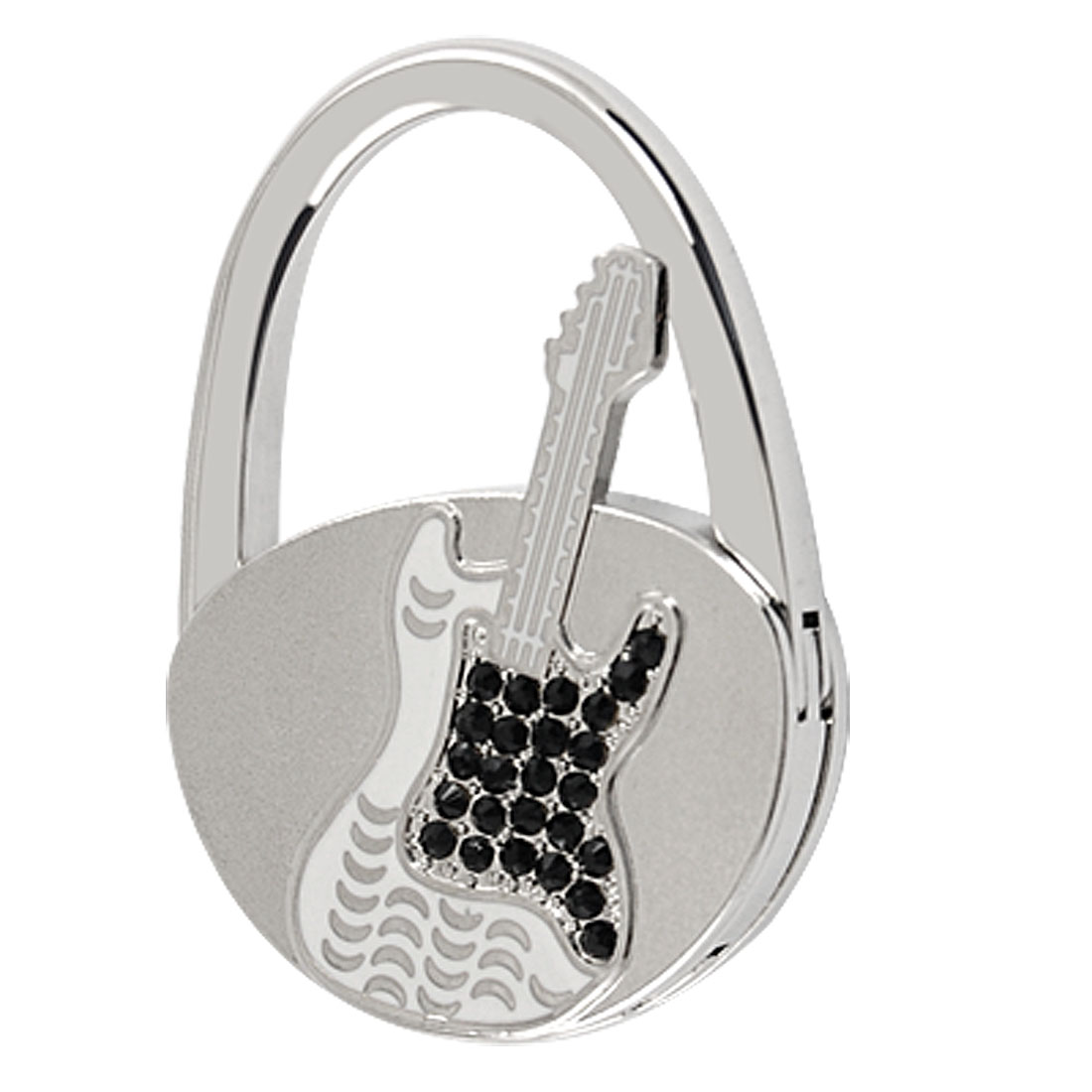 Rhinestone Inlaid White Guitar Motif Handbag Foldable Hook