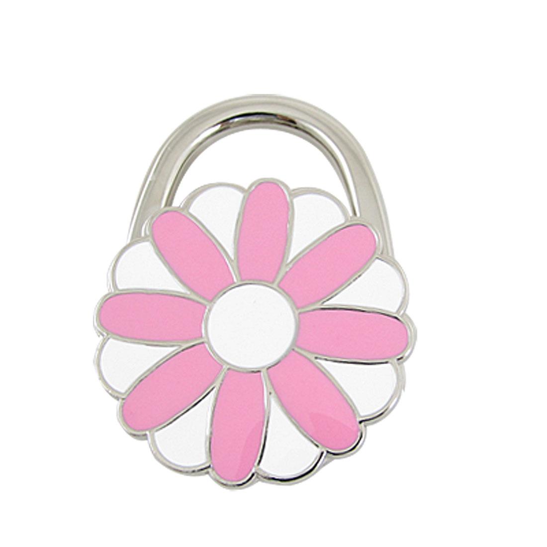 Pink White Chrysanthemum Non-skid Rubber Bag Purse Handbag Hook Hanger Holder
