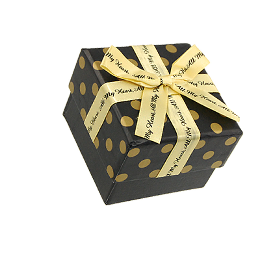Ribbon Bowknot Detail Dotted Paper Square Gift Case Box Black Yellow
