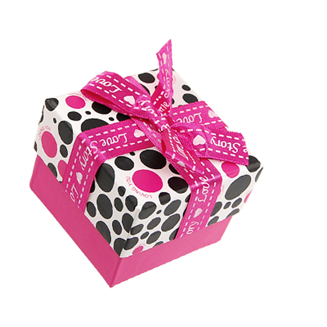 Fuchsia White Black Bowknot Accent Dotted Paper Square Gift Box for Jewelry