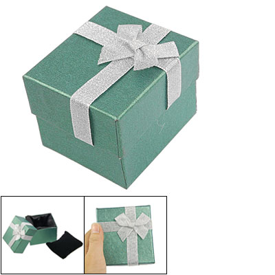 Green Square Shaped Bowknot Accent Bracelet Watch Gift Packaging Box