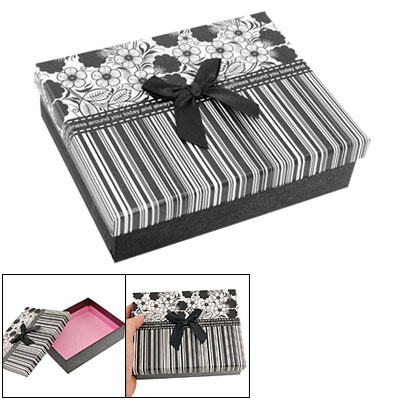 Black Whtie Vertical Stripe Retangle Shape Gift Box Case