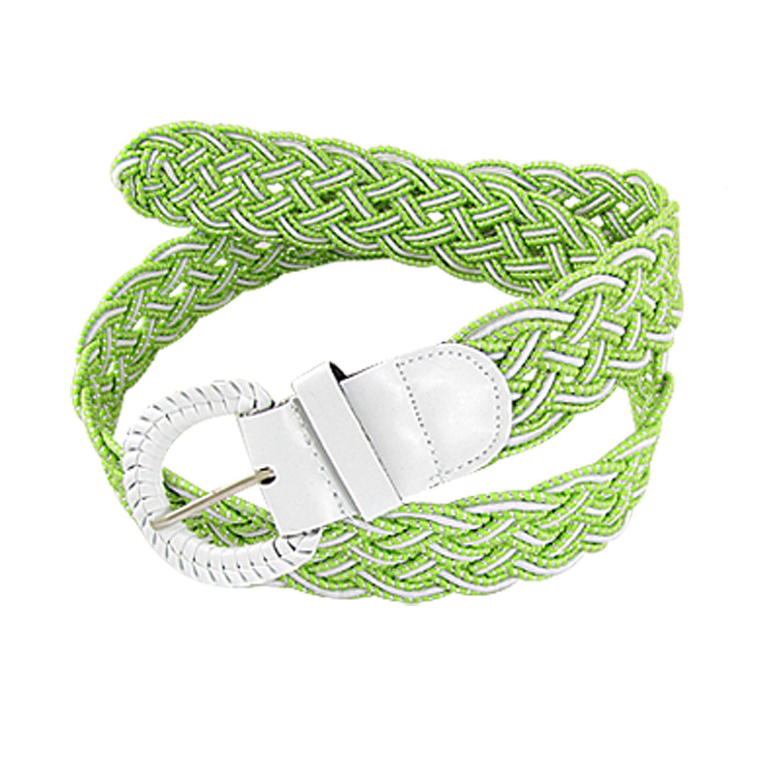 D Shaped Prong Buckle Green White Glitter Braided Belt for Lady