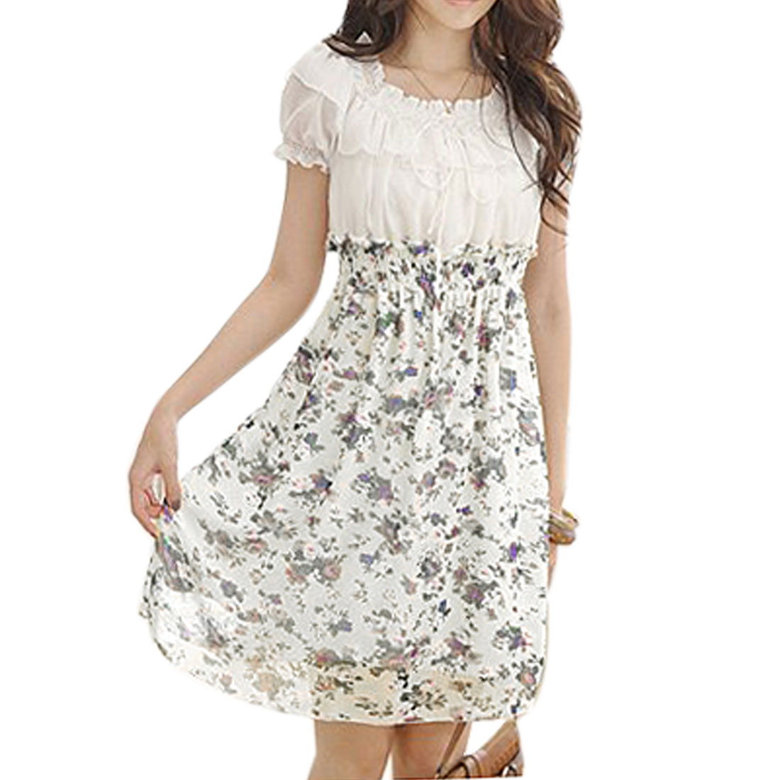 Purple Flower Prints White Chiffon Above Knee Summer Dress for Lady XS