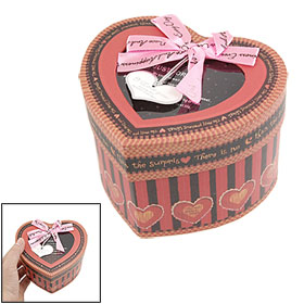 Bow Tie Decor Cap Striped Heart Shape Cardboard Gift Box Red Black