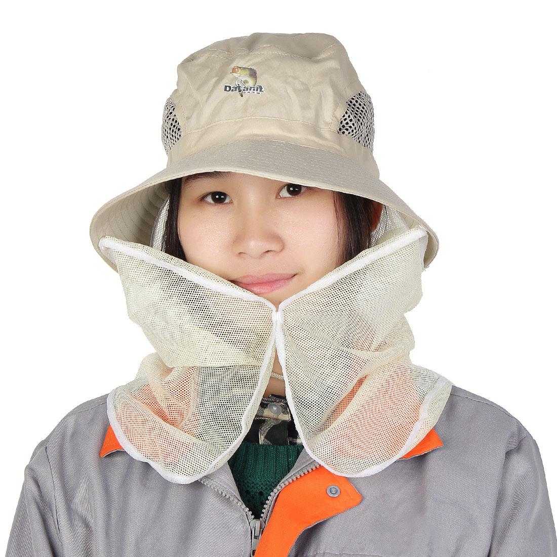 Adjustable Neck Strap Beige Rim Mesh Flap Wide Visor Bucket Style Hat