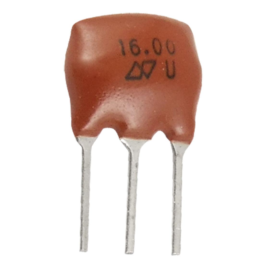 100 Pcs 16 MHz 3 Pins Ceramic Filter for Radio Receiver