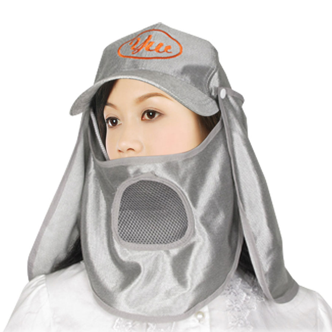 Adjsutable Strap Detachable Neck Cape Fishing Flap Hat Silver Tone