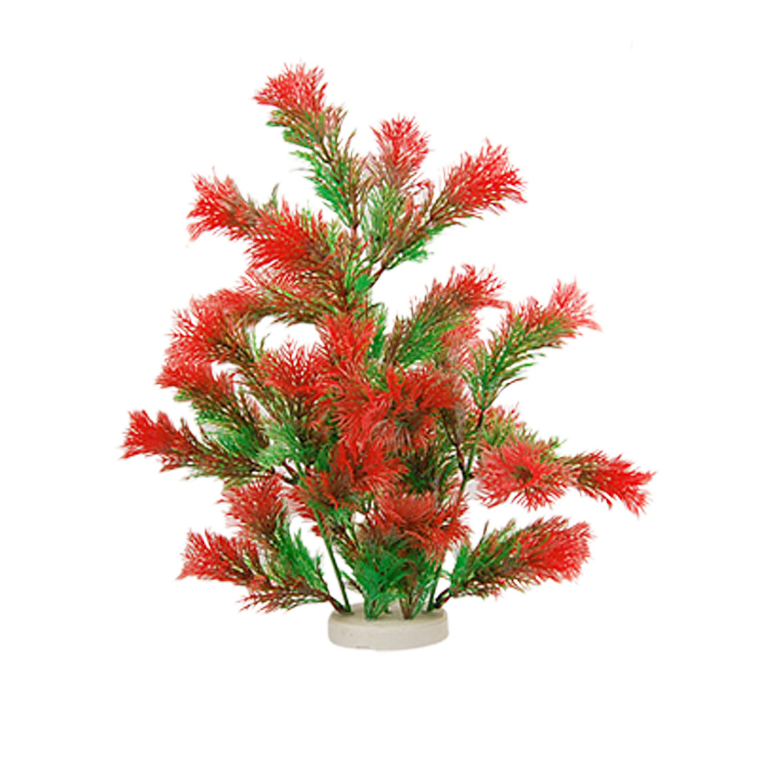 Ceramic Base Green Red Plastic Grass Plant for Fish Tank