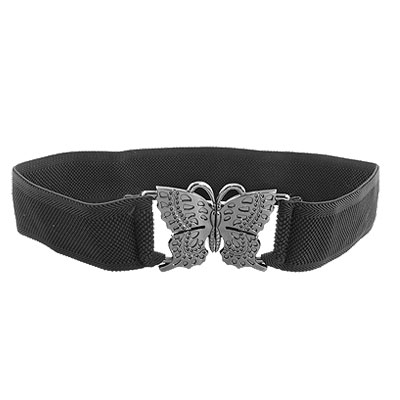 Gray Plastic Butterfly Buckle Elastic Black Cinch Belt for Lady