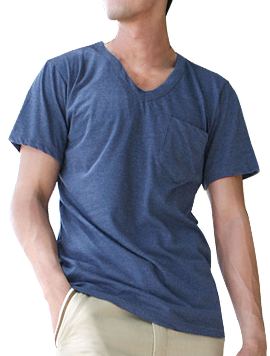 Men V Neck Short Sleeve Patch Pocket T Shirt Midnight Blue XS