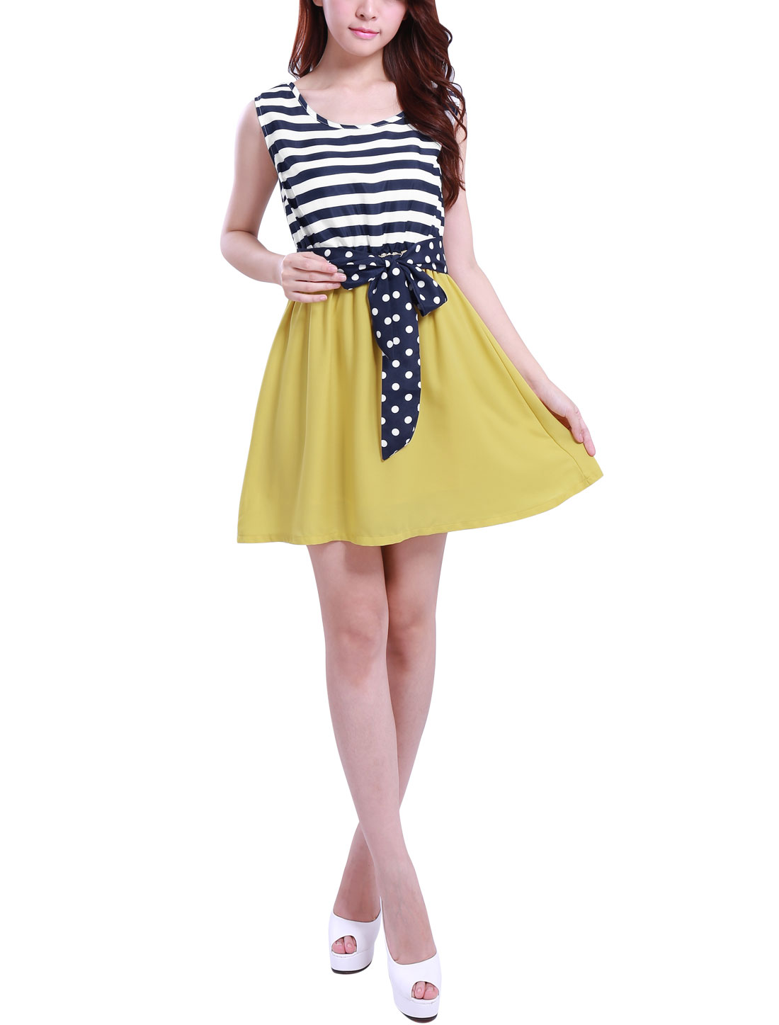Lady Dark Blue Yellow Elastic Waist Sleeveless Sash Dress XS