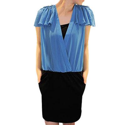Ladies Ruffle Epaulet Sleeveless Mini Dress Black Blue XS