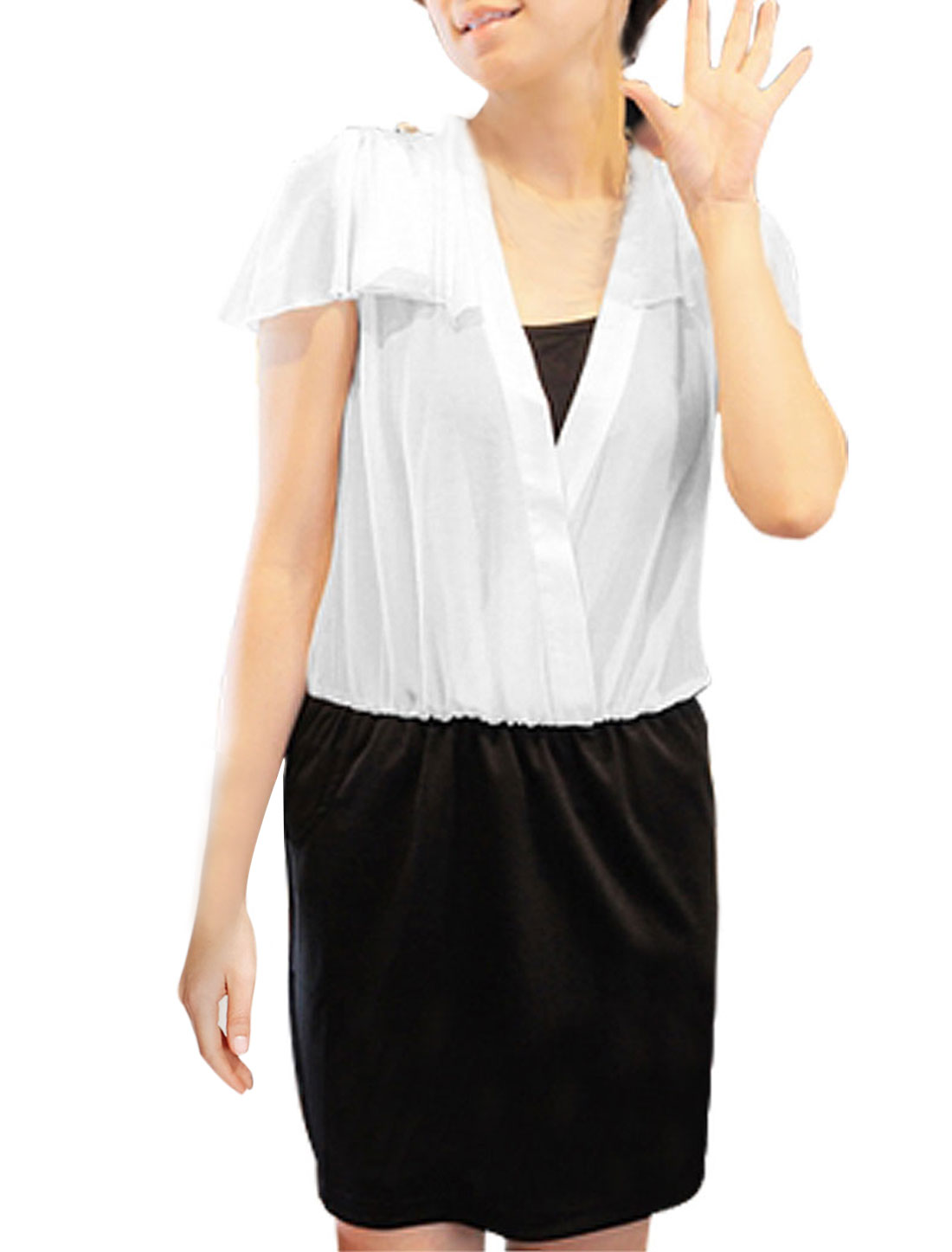 Ladies Black White Deep V Neck Mini Dress XS + Camisole