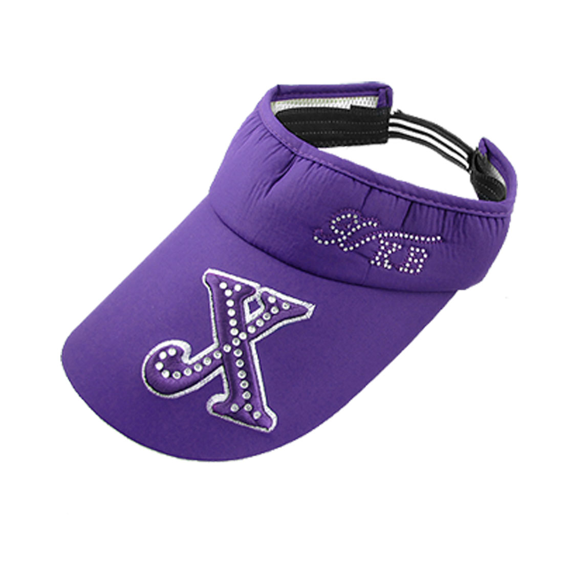Ladies Rhinestone Embroidered X Sports Sun Visor Hat Cap Purple