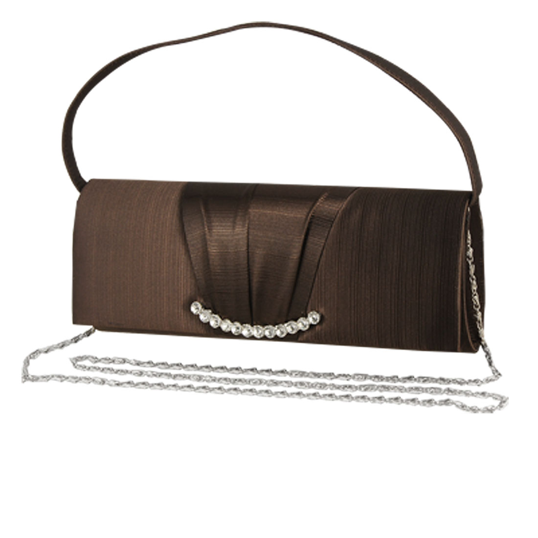 Crystal Detailing Coffee Color Evening Bag for Ladies