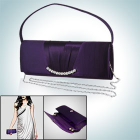 Woman Magnetic Button Clouse Rhinestone Evening Handbag Purple