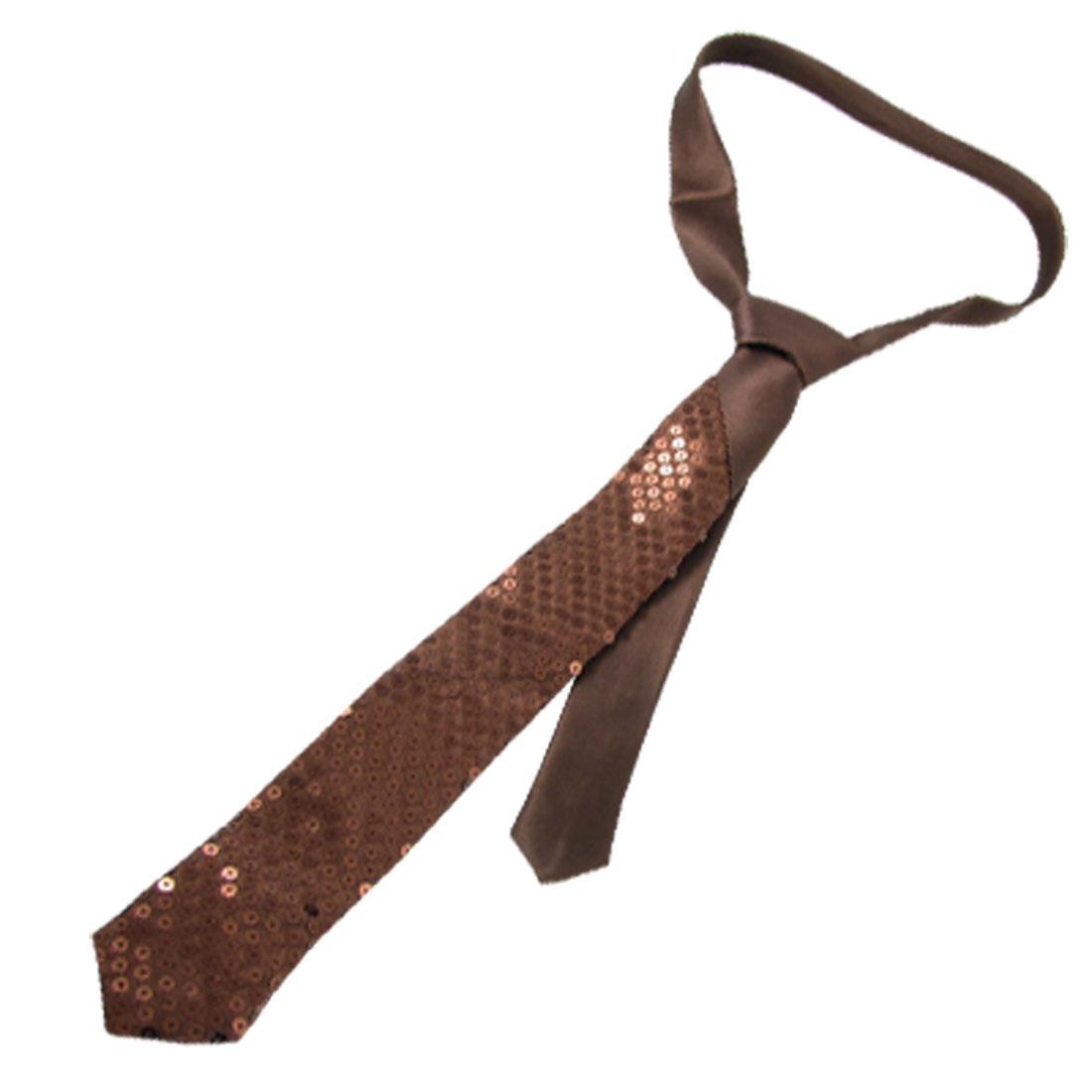 Coffee Color Polyester Men Paillette Sequin Detail Neck Wear Necktie