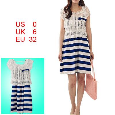 Ladies Sliding Strap Dress White Blue + Short Sleeve Crop Lace Shirt XS