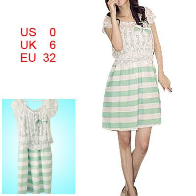 Ladies Spaghetti Strap Dress White Green + Lace Crop Shirt S