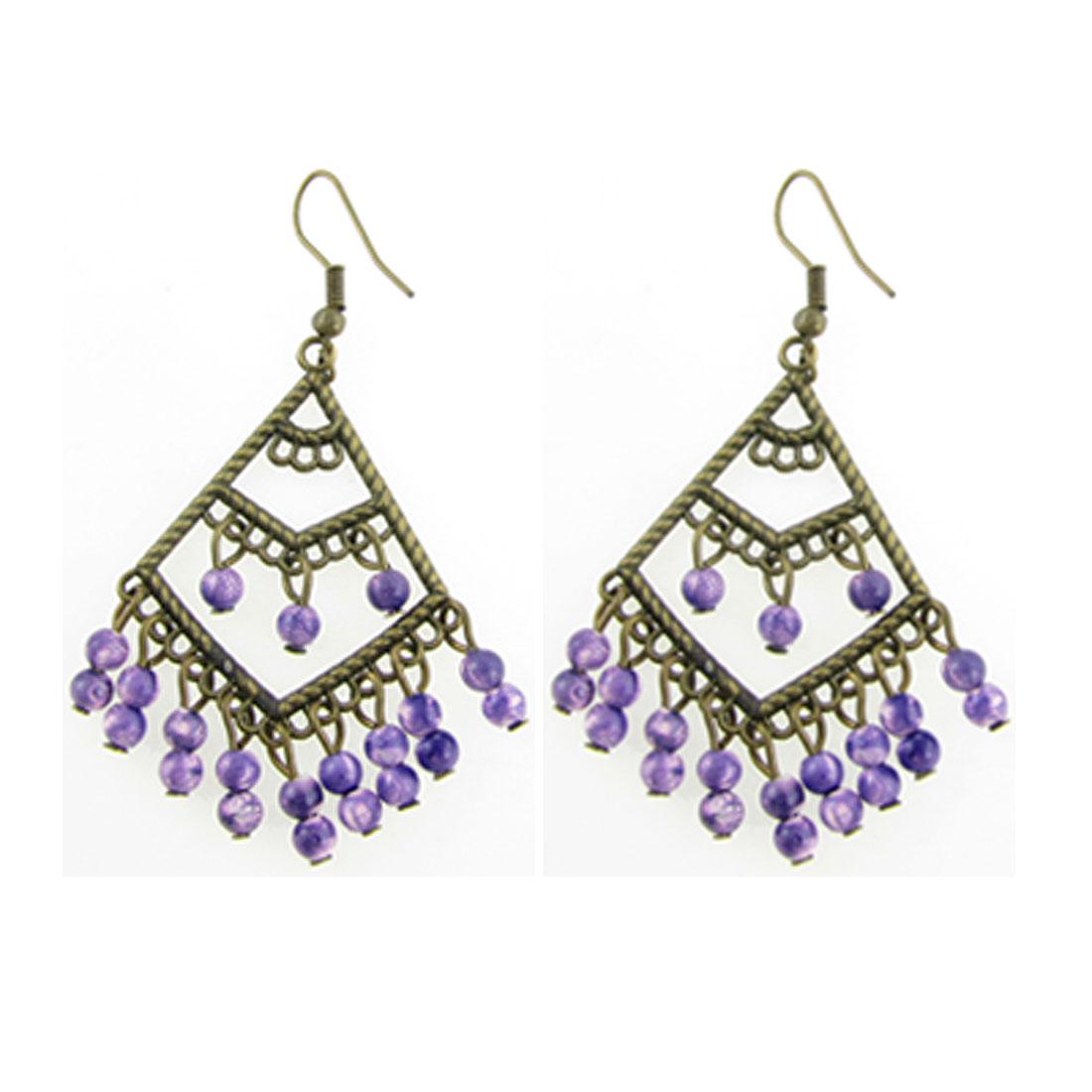 Bronze Tone Purple Beads Decor Rhomb Shape Hook Earrings for Lady