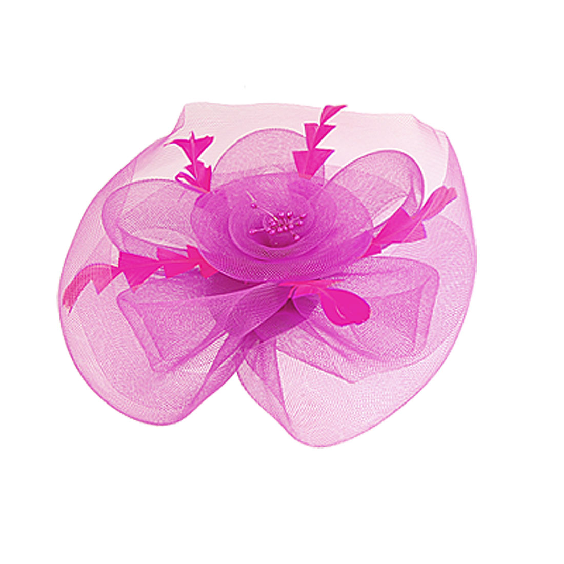 Ladies Fuchsia Nylon Meshed Flower Design Headwear Alligator Hair Clip