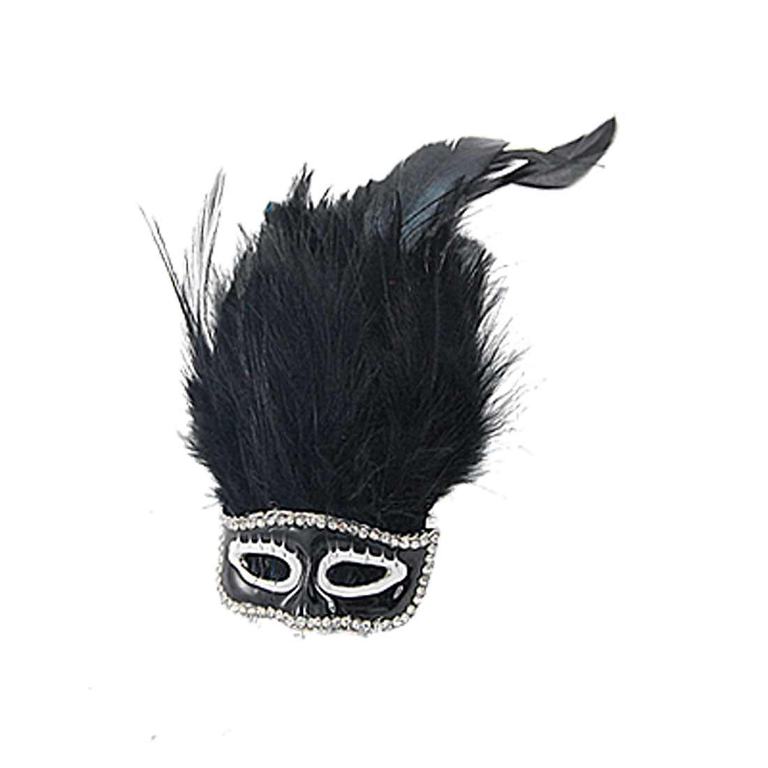 Party Mask Design Faux Fur Brooch Hair Clip Black for Lady