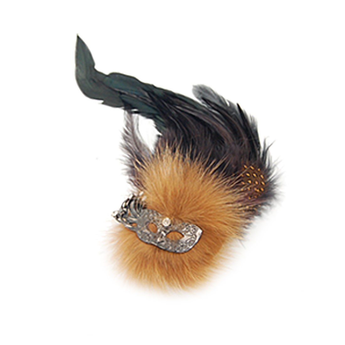 Fuax Fur Detail Party Mask Safety Pin Brooch for Ladies