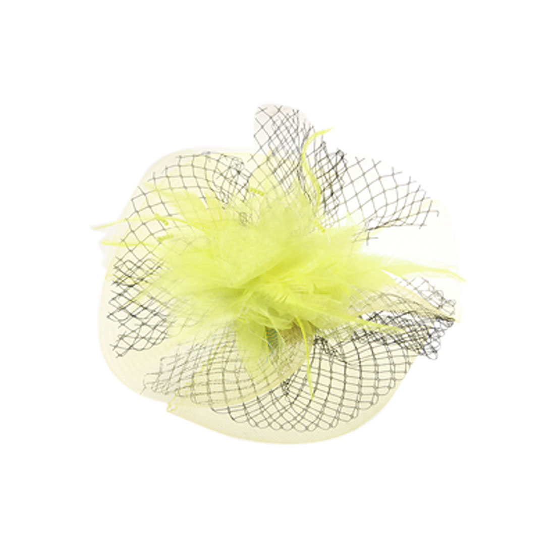 Wedding Feather Beads Accent Mesh Flower Hairclip Yellow