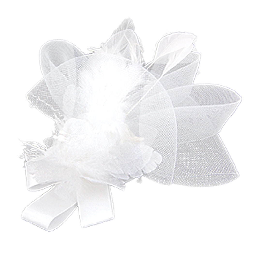 Circled Mesh White Flower Feather Decor Burlesque Hair Clip Corsage