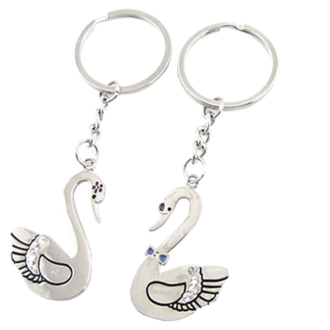 Couple Faux Crystal Goose Pendant Dangle Key Ring Keychain